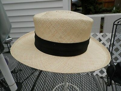 Orvis man's natural straw Panama hat size L 7 1/4 7 3/4