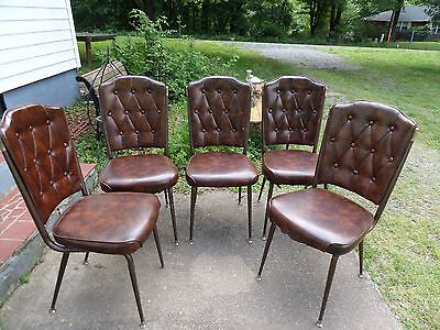 5 Mid Century Dining Chairs Chromcraft Brown Upholstery Vintage