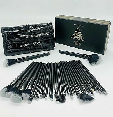 EYE-DOLL 32 pc Professional Make Up Brush Set with Luxury Leather Effect Carry