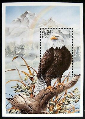 97' Mnh Maldives Bald Eagle Stamp Souvenir Sheet Birds Of Prey Stamps Mountains