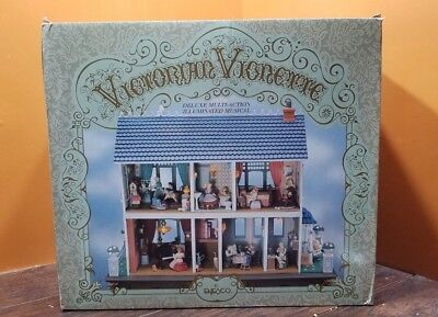 SEE VIDEO Enesco Victorian Vignette Animated Multi Action Musical DollHouse MINT