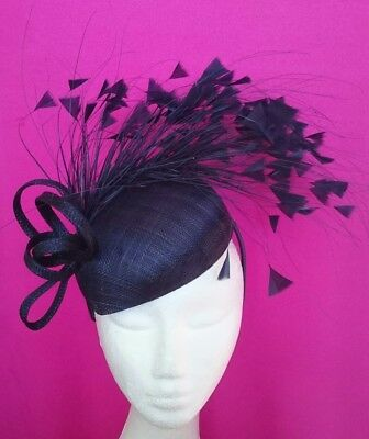 Morgan And Taylor Navy Beret Feathers Fascinator Races Wedding Melbourne Cup