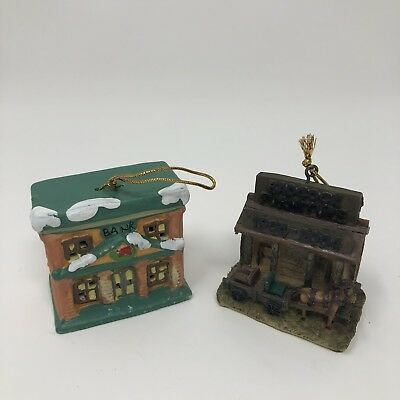LOT OF 2 Badcock Collectible Village Bank Glass Bell Christmas Ornament & Store