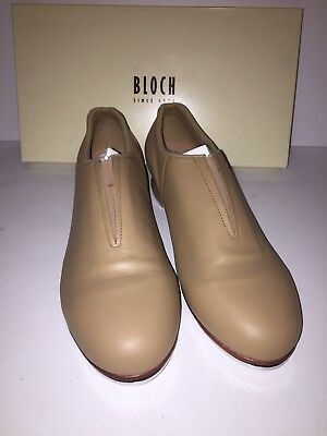 "BLOCH ""Tap-Flex"" S0389L Size 8 N tan Slip On Tap Shoes New Leather"