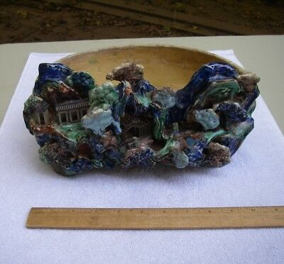 Antique JAPANESE BANKO? Ware Pottery PLANTER-3-D GROTTO Scenic Front-AS IS