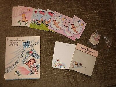 15 Vtg Baby Shower Place Cards Score Cards Baby Bundle 50's 60's