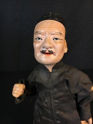 Antique Vintage Chinese Composition Character Doll Wonderful Detail Wooden Stand