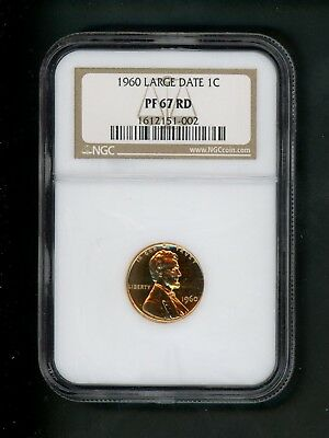 1960 US Lincoln Memorial Cent 1c .01 NGC PF 67 RD Proof Red Large Date Choice