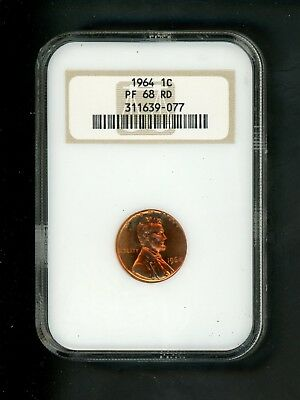 1964 US Lincoln Memorial Cent 1c .01 NGC PF 68 RD Proof Red Toning spots heavier
