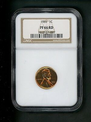 1961 US Lincoln Memorial Cent 1c .01 NGC PF 66 RD Proof Red