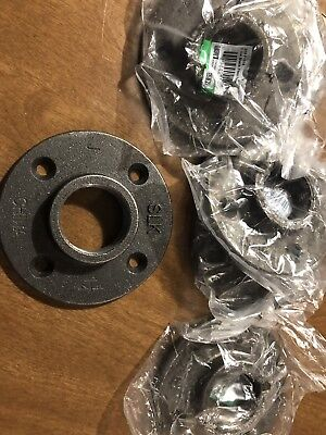 """(4) 1-1/4"""" BLACK MALLEABLE FLOOR FLANGE - IRON PIPE FITTNG NPT - 4 Piece Lot"""