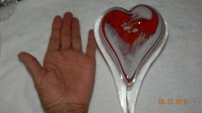 "Glass Heart Paperweight Hand blown LARGE 8"" Red White Signed Doug Art Glass"