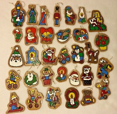 32 Vtg Flat Wood Christmas Ornament Lot Paint By Number Set Wooden