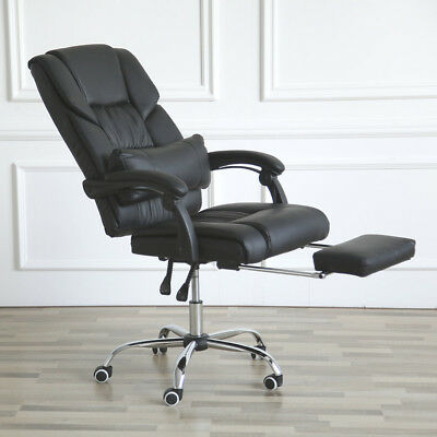 Reclining Office Chair Ergonomic Executive Leather Footrest Armchair High Back