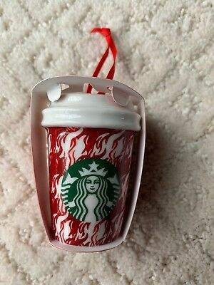 NEW Starbucks 2018 Houndstooth Flame Red and White Ceramic Holiday Ornament