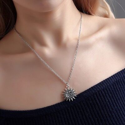 Charming Women Silver Gold Plated Chain Sun And Moon Fit Pendant Necklace Gift
