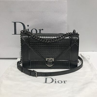 2178d18cd3 Christian Dior Diorama In Gunmetal Metallic Calfskin With Micro-Cannage  Motif