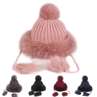 Women's Thick Warm Knitted Hat Slouchy Baggy Pom Pom Skis Beanies Cap Winter