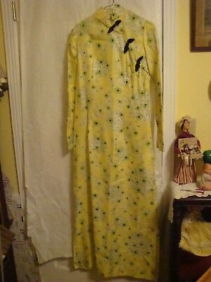 Handmade Chinese Women's Long Dress Evening Gown Yellow Floral