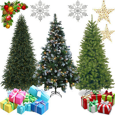 Premium Artificial 7Ft Green Pre-Lit Colorado Frosted Spruce Pine Christmas Tree