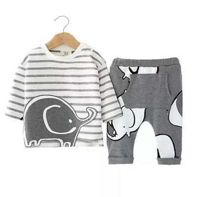 Newborn Baby Boys Girls Striped 3D Elephant Top Pants Outfits Clothes AU Stock