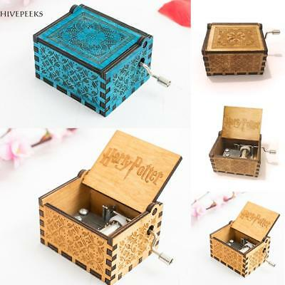 Christmas Gift Harry Potter Engraved Wooden Hand Crank Music Box Boys Girls Toy~