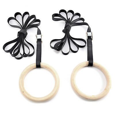 2x Adjustable Olympic Gymnastic Crossfit Gym Strength Training Rings Pull Up