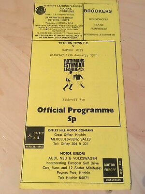 Football Programme Oxford City V Walthamstow Avenue 10 5 1969