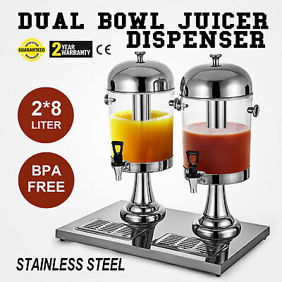 2*8L Juice Drink Beverage Dispenser 16L Orange Lemon Stainless Steel Kitchen