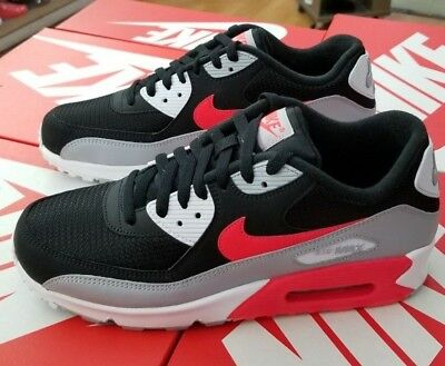 best service a18ea 385bb Nike Air Max 90 Essential Men s Wolf Grey bright Crimson-Black Aj1285 012