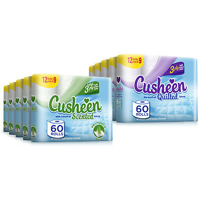 60 Cusheen Quilted Luxury White/Aloe 3 Ply Hygiene Toilet Tissue Rolls