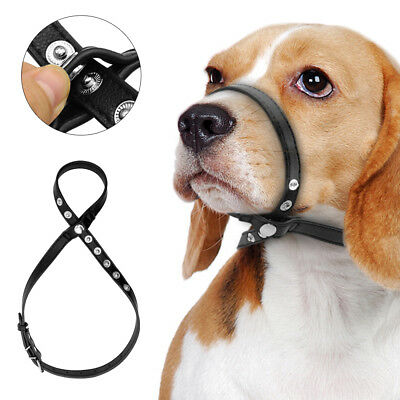 Anti Bark Bite Dog Head Collar Button Adjustable Soft Leather Dog Muzzle Black