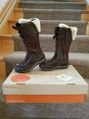 5f4a4cccc46 Women s Merrell Prevoz Brown leather 200G Insulated Waterproof Winter Boots  Sz 6