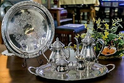 "International ""Camille"" Silverplate (Coffee Pot, Teapot, Creamer & Sugar, Tray)"