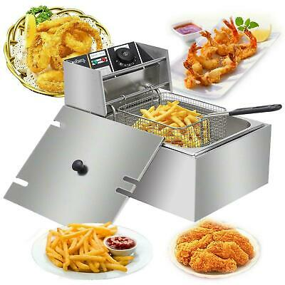 10L 2500W Electric Deep Fat Fryer Stainless Steel Chip Pan Basket 6L Oil