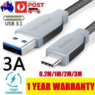 3A Braided Type-C USB-C USB 3.1 Data Sync Fast Charger Cable 3M Fo Samsung S9 S8