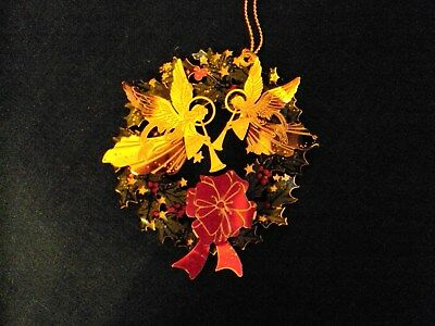 2012 Painted Brass Angels and Wreath Christmas Ornament - 3 inch
