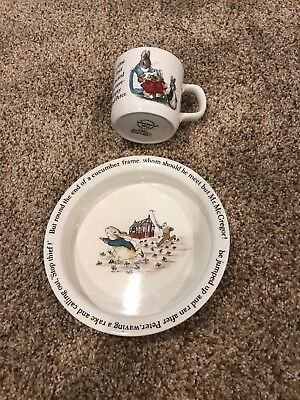 Wedgewood PETER RABBIT Bowl and cup Childs Collectible Made in England