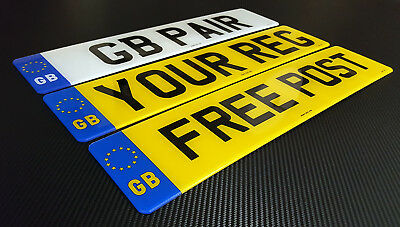 Pair Standard GB/EU PLATES MOT UK Legal Car Van Reg Registration Number Plates