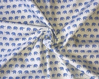 John Louden Baby Blue Elephants Nursery Fabric 100% Cotton 112Cm Per Metre