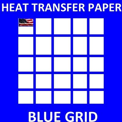 IRON ON Inkjet Opaque Heat Transfer Paper for dark Fabrics -Blue Grid- 50 sh A4