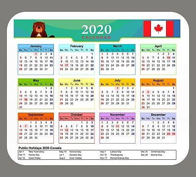 2019 Canada Calendar Non Slip Mouse Pad 9.25x7.75 with Public Holidays
