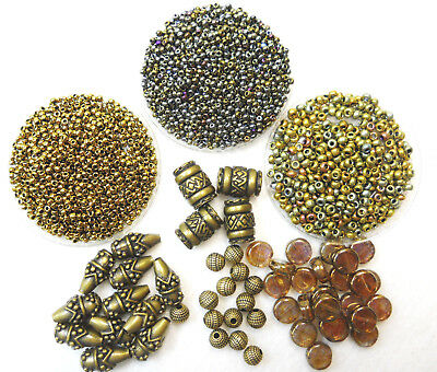 Metallic Bronze Finished Bead Collection Seed Beads, Novelty Beads Lot 6900+ pcs