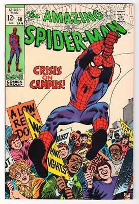 MARVEL Comics VFN 8.0 SPIDER-MAN Bronze age #68 1969 AMAZING spiderman campus