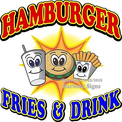 Hamburger Food & Fries DECAL (Choose Your Size) Food Truck Concession Sticker
