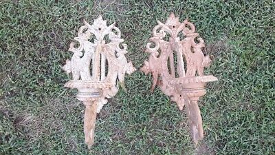 Vintage Pair of Ornate Cast Iron Wall Sconces Lamp Candle. Heavy. Gothic