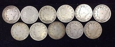 Liberty Head V-Nickels - Lot Of 11 Coins (1902-1912)