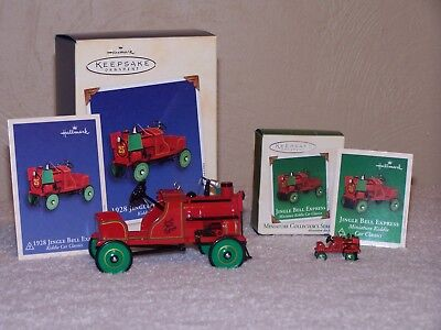Hallmark Ornament 2002 & 2003 1928 Jingle Bell Express #9 Kiddie Car Classics