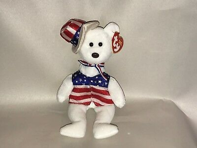 857de739c68 TY BEANIE BABY - Uncle - SAM the Bear - 4th Of July - American USA ...
