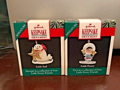1990 Miniature HALLMARK Ornament Lot - LITTLE FROSTY & LITTLE SEAL - MIB